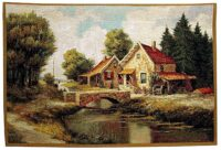Flemish Bridge tapestry - overstocked wall tapestry on sale
