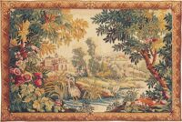 Flamingos at the River Lignon - French wall-hanging tapestry