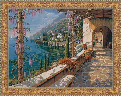 Villa in Capri tapestry - Bob Pejman Mediterranean tapestries