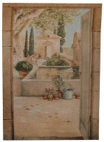 Terrace in Provence tapestry - contemporary wall tapestries