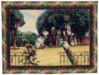 Peacock in a Country Estate - tapestry wall hanging on sale