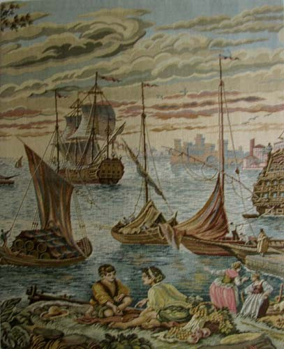 Ships in Venice Harbour tapestry - discontinued on sale