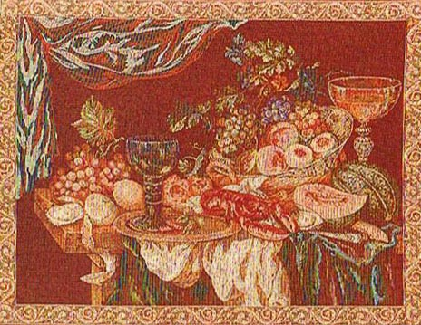 Still Life - wine colour Italian wall tapestry on sale