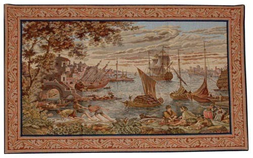 Venice Harbour Ships - tapestry woven in Italy on sale