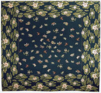 Lilypond Frogs tablecloth - French table cloth - dark blue