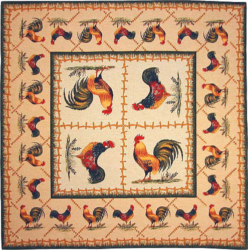 Two Roosters tablecloth - cockerels - woven in France