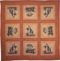 Giraffe and Lioness tablecloth - French weaver