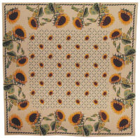 Sunflowers tablecloth - decorative table cloth - woven in France