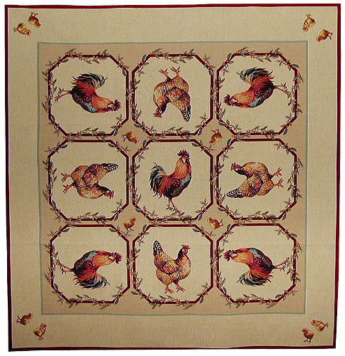 Rooster and Hen tablecloth - tablecloths woven in France