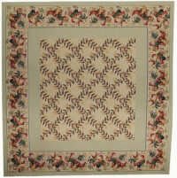 Roosters with Leaves tablecloth - French cotton weave