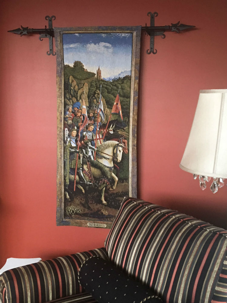 The Knights of Christ wall tapestry hanging in a home