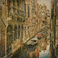 Venice wall tapestry - gondolas on a canal - French tapestries
