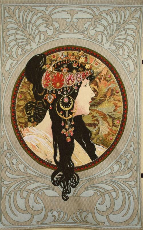 Mucha Brunette Byzantine Head - Mucha tapestry