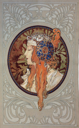 Mucha Blonde Byzantine Head - Art Nouveau tapestry