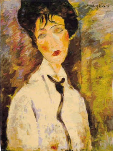 Woman with a Black Tie - Modigliani tapestry wall-hanging