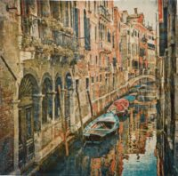 Venice wall tapestry - gondolas on a canal