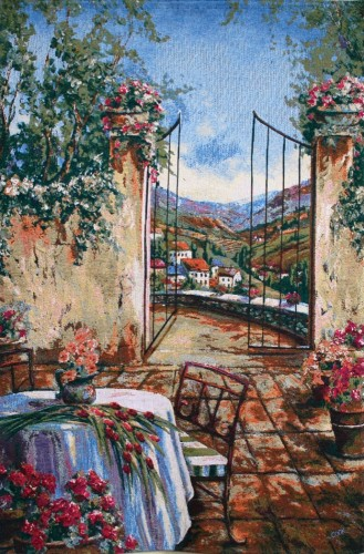 Table for Two tapestry - French tapestry wallhanging