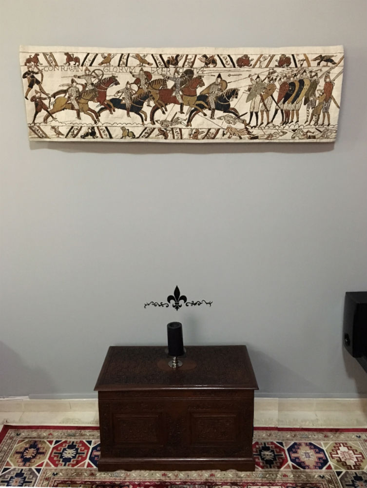 The Battle of Hastings tapestry hanging in a home