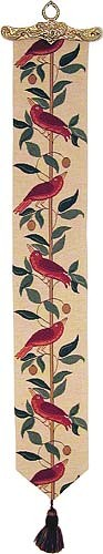 Red Birds bellpull - French tapestry bellpulls