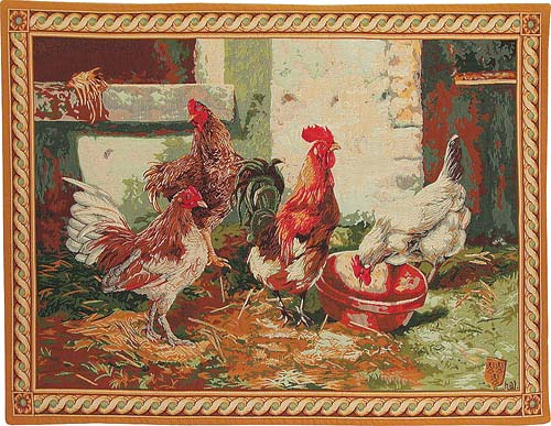 Rooster and Hens tapestry - Marie-Antoinette
