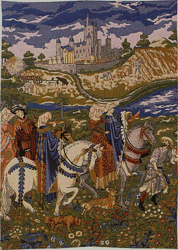 August tapestry The Falcon Hunt - Les Tres Riches Heures