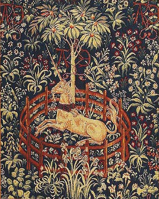 Captive Unicorn tapestry on sale - Metropolitan Cloisters tapestries