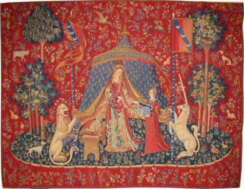 Matching pairs of medieval tapestries