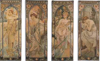 Art Nouveau tapestries - Mucha, Klimt wall tapestry art
