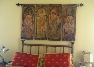 Four Mucha tapestries