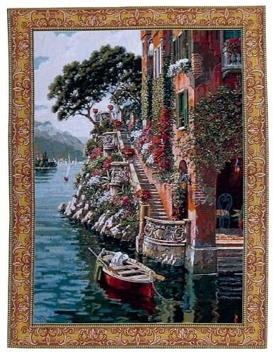 Lake Como Villa tapestry - Bob Pejman art tapestries