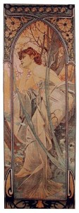 Mucha Times of the Day tapestries - Evening Contemplation tapestry
