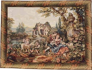 Francois Boucher tapestry - Noble Pastorale - Old Mill