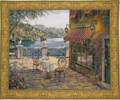 Trattoria at Lake Como wall tapestry - landscape tapestries