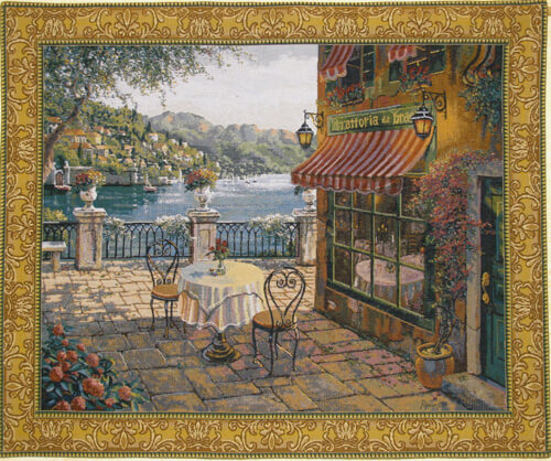 Trattoria at Lake Como tapestry - Pejman art tapestries