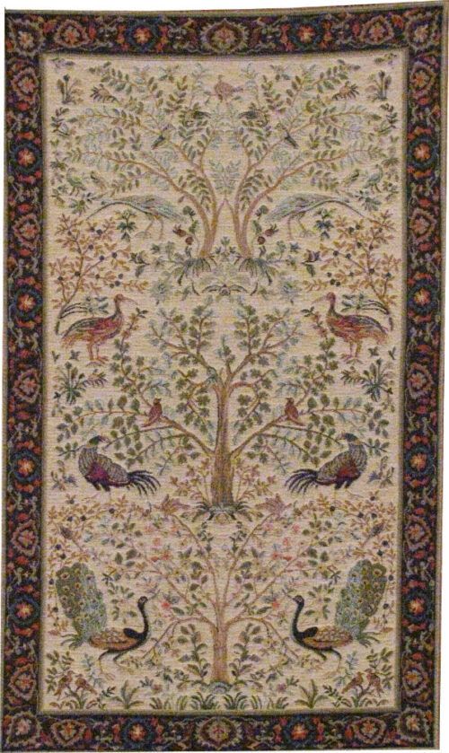 Trees and Birds tapestry - cream
