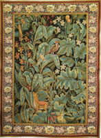 Aristoloches tapestry with border - leaves with animals and birds