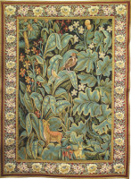 Aristoloches tapestry with border - Belgian woodland wall-hanging