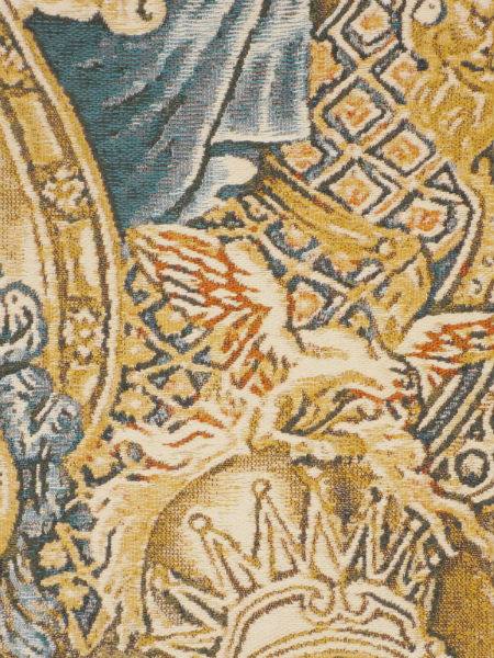 Close-up detail of elegant French tapestry wall-hanging