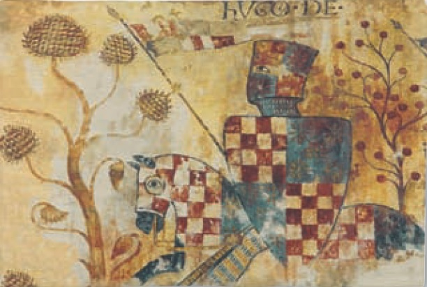 Medieval Chevalier tapestry - knight in armour on horseback