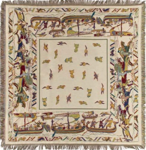 The Bayeux Tapestry throw - fringed French throw or tablecloth