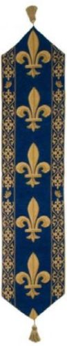 Blue Fleur de Lys table runner - French woven runners
