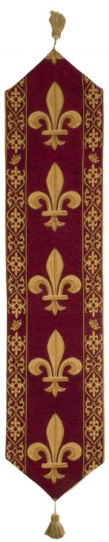 Burgundy Fleur de Lys table runner - French with tassels