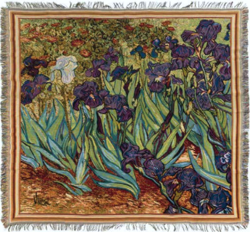 Vincent Van Gogh Irises throw - fringed French tablecloth