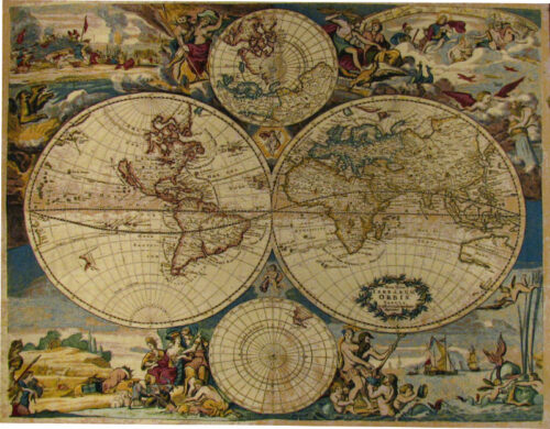 Willem Blaeu Planisfero Map - Italian world maps tapestry