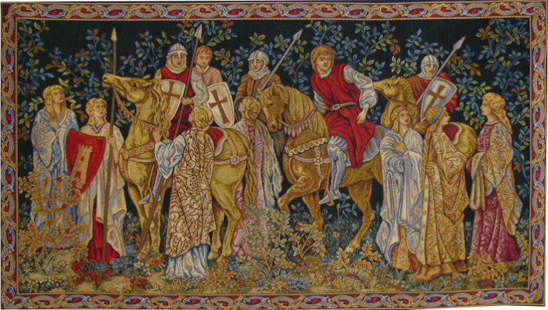 The Crusaders Depart tapestry wallhanging - early medieval