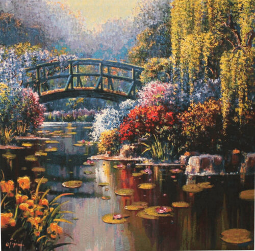 Square Giverny Pond tapestry wallhanging - Bob Pejman tapestries