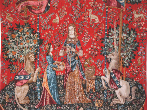 L'Odorat tapestry wall-hanging - the Lady and the Unicorn wall tapestries