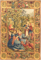 October Lucas Months tapestry - medieval grapes harvest
