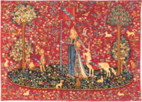 Touch wallhanging tapestry - lady holds the unicorn horn