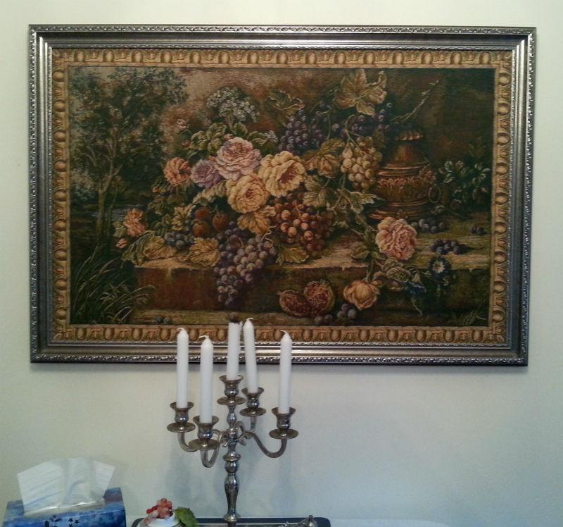 Framing tapestries - a floral still life tapestry